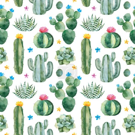 Photo for Watercolor blooming cactuses isolated on white background - Royalty Free Image