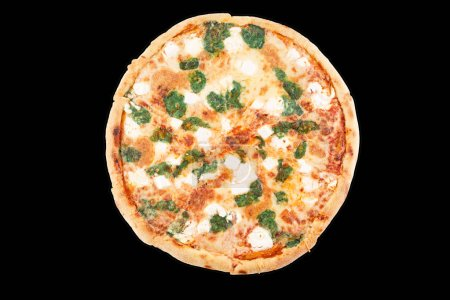 Photo pour Hot four cheese delicious pizza with a thick crust on a black background. Top view. - image libre de droit