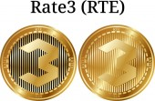 Set of physical golden coin Rate3 (RTE) digital cryptocurrency Rate3 (RTE) icon set Vector illustration isolated on white background