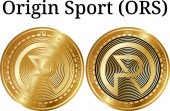 Set of physical golden coin Origin Sport (ORS) digital cryptocurrency Origin Sport (ORS) icon set Vector illustration isolated on white background
