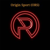 Origin Sport (ORS) cryptocurrency symbol Vector illustration eps10 isolated on black background