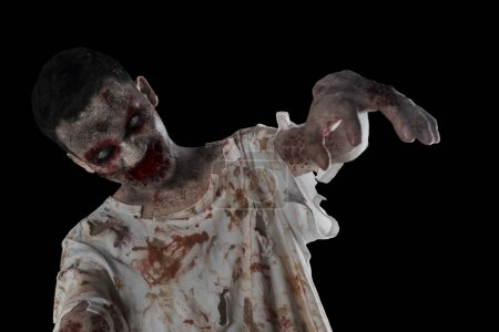 Photo for Close up of a creepy zombie man attacking his victim. Concept of Halloween horror - Royalty Free Image