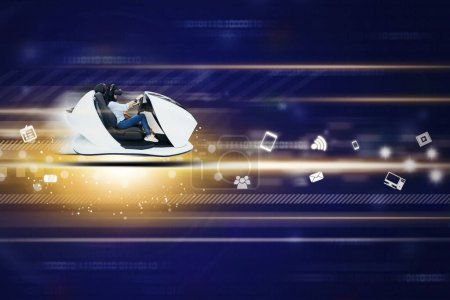 Photo for Fast internet concept. Picture of young woman driving a futuristic car in cyberspace - Royalty Free Image