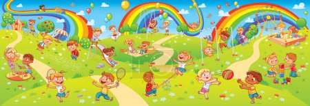 Illustration for Children's entertainment complex with swing, sandbox, carousel and slides in recreation park. Children playing in playground. Kids zone. Place for games. Funny cartoon characters. Vector illustration - Royalty Free Image