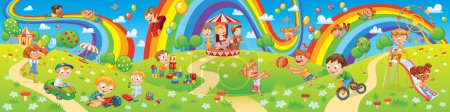 Illustration for Children playing in playground. Kids zone. Place for games. Funny cartoon characters. Children slide down on a rainbow. Amusement park rides. Vector illustration. Seamless panorama - Royalty Free Image