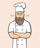 Hand drawn vector illustration of hipster chief-cooker with a mustache and beard in a white dress chief-cooker logo