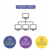 Computer system outline icon