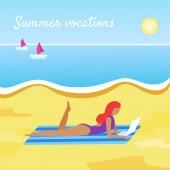 Summer vacations banner with girl