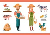 Cartoon farm clipart collection with farm workers (man and woman) farm animals (pig and cow) and birds (rooster and hen) farm tools and products Isolated vector illustration for your project