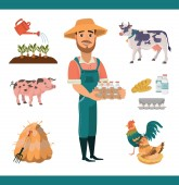 Cartoon farm clipart collection with bearded smiling man as farm worker farm animals (pig and cow) and birds (rooster and hen) farm tools and products Isolated vector illustration for your project