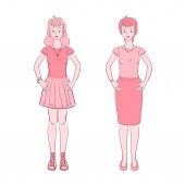 Illustration of  young teen woman and middle aged woman
