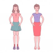 Colorful illustration of young teen woman and middle aged woman