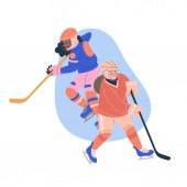 Illustration with teen girls playing ice hockey game Isolated vectorconcept