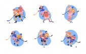 Flat concept illustrations with young male and female ice hockey players Isolated vector set with happy children