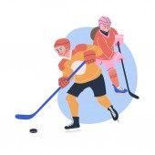 Illustration with young male and female ice hockey players Isolated vector Flat characters