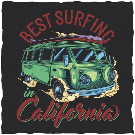 Illustration for T-shirt label design with illustration of hippie surfing bus - Royalty Free Image