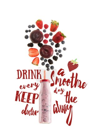 "healthy berries smoothie in glass bottle isolated on white, with ""drink a smoothie every day keep the doctor away"" lettering"
