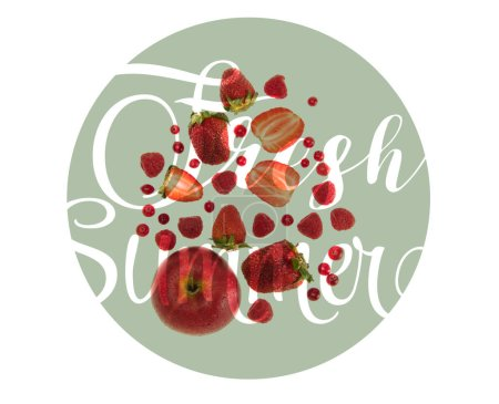 "different organic red fruits and berries isolated on white with ""fresh summer"" lettering"