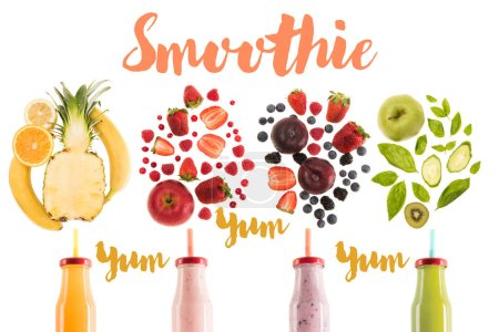 "different healthy smoothies in bottles with fresh ingredients isolated on white, with ""yum smoothie"" lettering"