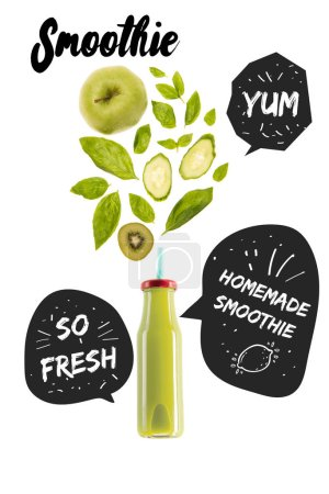 "Photo for Green healthy smoothie fruits in glass bottle isolated on white, with ""homemade smoothie"", ""yum"" and ""so fresh"" inspirations in speech bubbles - Royalty Free Image"