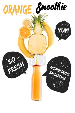 "yellow healthy smoothie fruits in glass bottle isolated on white, with ""homemade smoothie"" and ""so fresh"" inspirations in speech bubbles"