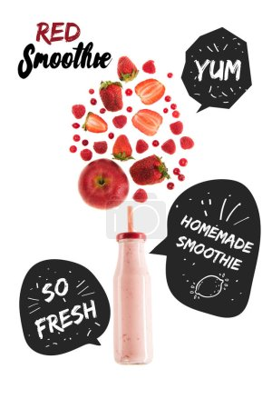 "red healthy berries smoothie in glass bottle isolated on white, with ""homemade smoothie"" and ""so fresh"" inspirations in speech bubbles"