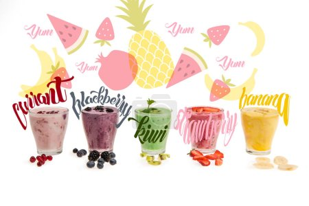 Close-up view of glasses with fresh smoothies made of currant, blackberry, kiwi, strawberry, banana,  isolated on white with illustrations