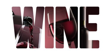 Photo pour Vin et fine boire concept: bouteille vin verser dans un verre à vin et découper du texte - image libre de droit