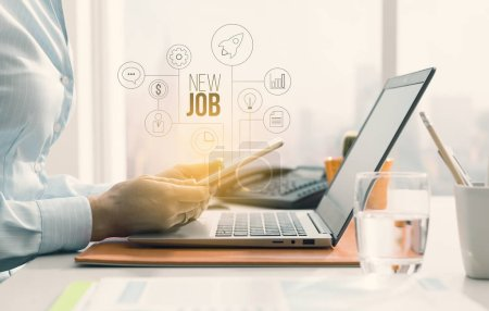 Photo for Woman sitting at office desk and searching for new job opportunities online using a mobile app, user interface with icons diagram, business and employment concept - Royalty Free Image