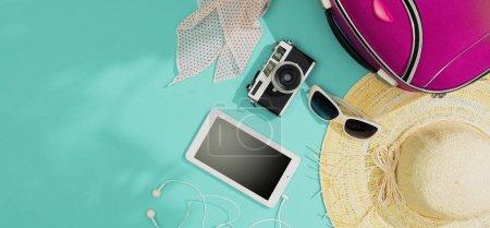 Foto de Embalaje y salida para las vacaciones de verano: bolsa, sombrero de paja, cámara y accesorios planas, espacio de copia en blanco - Imagen libre de derechos
