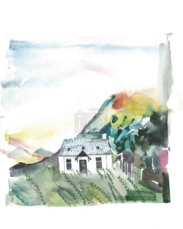 Pejzaż z domem, ilustracja akwarela. Abstrakcyjny akwarela malarstwo krajobraz na papierze kolorowy widok wsi na wzgórzu góry w sezonie zimowym piękno, dzikie życie, mgła w tle rano niebo