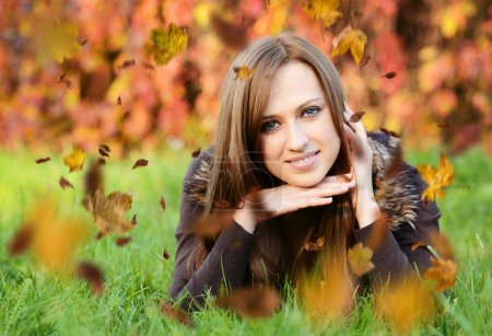 Photo for Autumn portrait of beautiful caucaisan woman - Royalty Free Image