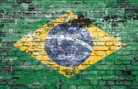 Brazil flag on brick wall background...