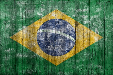 Brazil flag on old wooden background...
