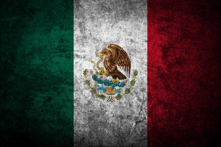 Photo pour Grunge foncé fond drapeau Mexique - image libre de droit