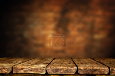Photo for Empty brown wooden table background - Royalty Free Image