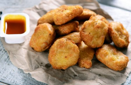 Close up view of delicious chicken nuggets