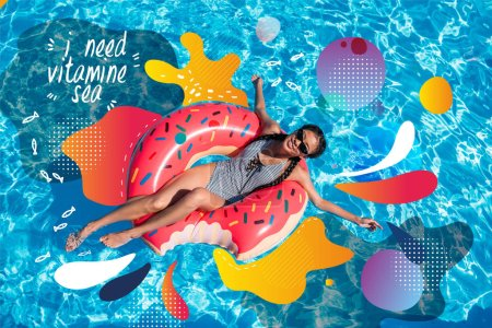 Asian woman on inflatable donut in pool