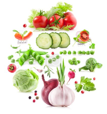 Photo for Collection of vegetables isolated on white background - Royalty Free Image