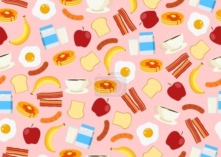 Seamless pattern of breakfast menu set background ...