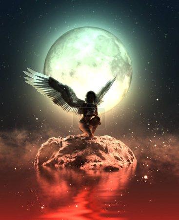 Photo pour Illustration 3D d'un ange dans le ciel, Techniques mixtes pour illustration de livre ou couverture de livre - image libre de droit
