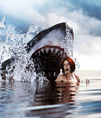 Photo pour Attaque de requin, 3d Techniques mixtes pour illustration de livre ou couverture de livre - image libre de droit