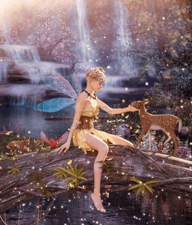 Photo pour 3d Fantasy Petite pixie dans la forêt mythique, illustration 3D pour couverture de livre ou illustration de livre - image libre de droit