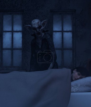 Photo for Night hag,Folklore story,Teenage girl with sleeping paralysis,girl being visit or immobilizes by a demonic,3d rendering - Royalty Free Image