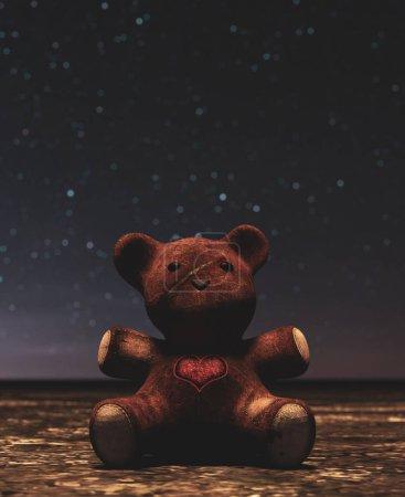 Photo pour Ours en peluche assis seul à l'extérieur pendant la nuit, rendu 3d - image libre de droit