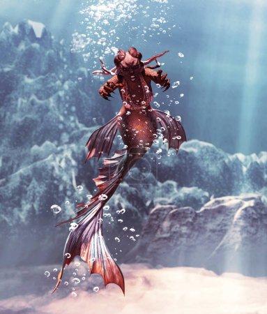 Photo pour 3d Fantasy horreur de sirène dans la mer mythique, Fantasy conte de fées d'une nymphe de mer, illustration 3D pour couverture de livre ou illustration de livre - image libre de droit