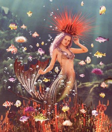 Photo pour 3d Sirène fantaisie dans la mer mythique, Fantaisie conte de fées d'une nymphe de mer, illustration 3D pour couverture de livre ou illustration de livre - image libre de droit