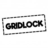 GRIDLOCK stamp on white