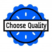 CHOOSE QUALITY stamp on white