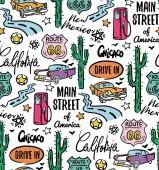 Route 66 pattern flat color design